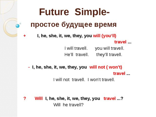 Future Simple- простое будущее время + I, he, she, it, we, they, you will (yo...