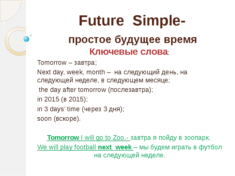 Future Simple- простое будущее время Ключевые слова: Tomorrow – завтра; Next...
