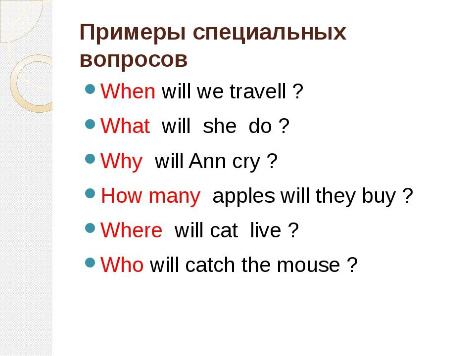 Примеры специальных вопросов When will we travell ? What will she do ? Why wi...