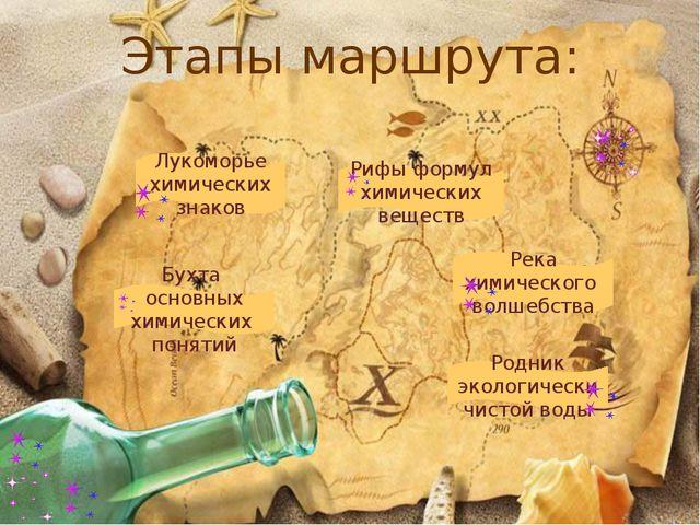 Этапы маршрута: Бухта основных химических понятий Лукоморье химических знаков...