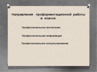 Направления профориентационной работы в классе: Профессиональная информация П