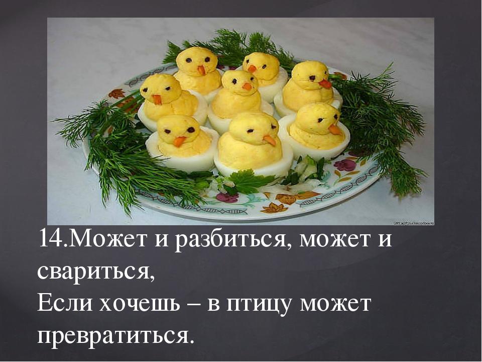 14.Может и разбиться, может и свариться, Если хочешь – в птицу может преврати...