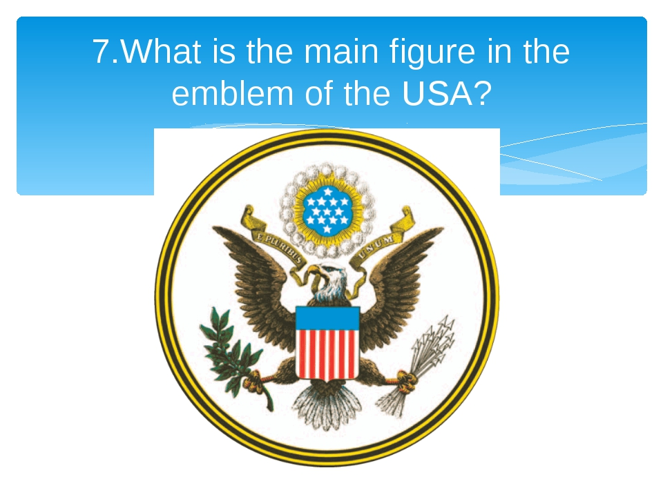 7.What is the main figure in the emblem of the USA?