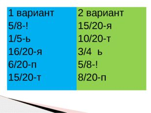1 вариант 5/8-! 1/5-ь 16/20-я 6/20-п 15/20-т 2 вариант 15/20-я 10/20-т 3/4ь 5