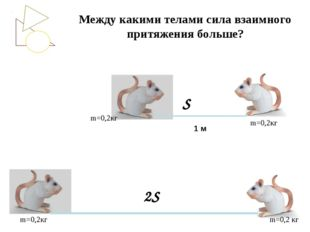 Между какими телами сила взаимного притяжения больше? m=0,2кг m=0,2кг m=0,2кг
