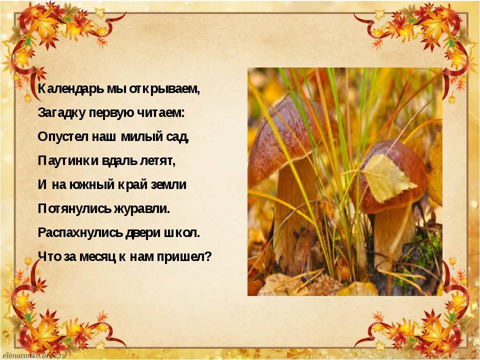 Календарь мы открываем, Загадку первую читаем: Опустел наш милый сад, Паутин...