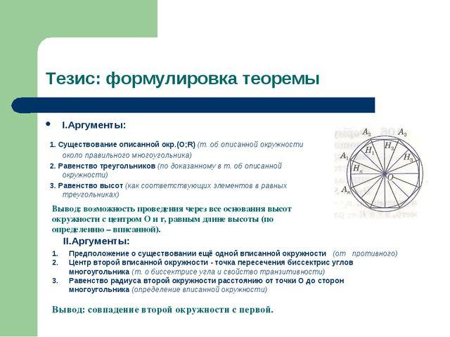 Тезис: формулировка теоремы I.Аргументы: 1. Существование описанной окр.(О;R)...