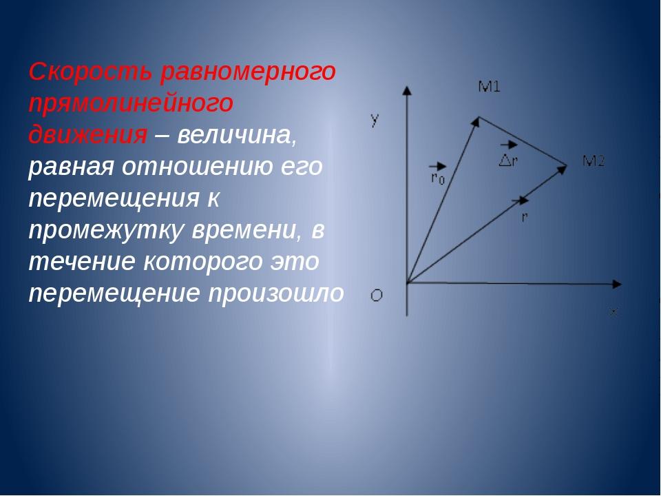 Скорость равномерного прямолинейного движения – величина, равная отношению ег...