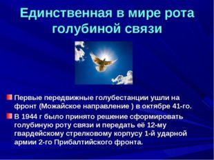 Единственная в мире рота голубиной связи Первые передвижные голубестанции ушл