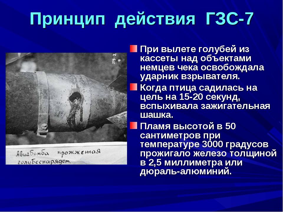 Принцип действия ГЗС-7 При вылете голубей из кассеты над объектами немцев чек...