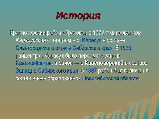 История Краснозерский район образован в 1773 под названием Карасукский с цент...