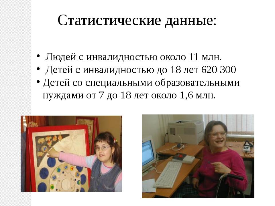 Статистические данные: Людей с инвалидностью около 11 млн. Детей с инвалиднос...