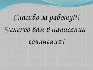 Спасибо за работу!!! Успехов вам в написании сочинения!