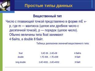 Простые типы данных Вещественный тип Число с плавающей точкой представлено в