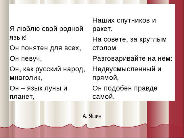 А. Яшин Я люблю свой родной язык! Он понятен для всех, Он певуч, Он, как русс...