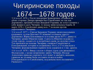 Чигиринские походы 1674—1678 годов. 1-й поход, 1676 г. После покорения Заднеп