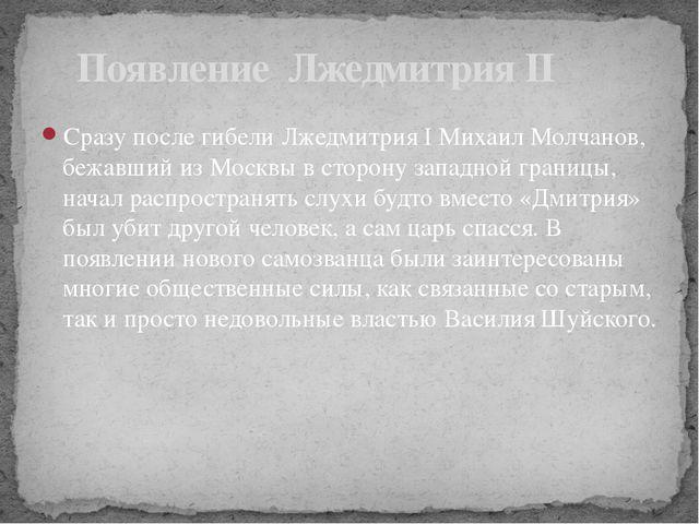 Сразу после гибели Лжедмитрия I Михаил Молчанов, бежавший из Москвы в сторону...