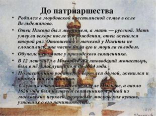 До патриаршества Родился в мордовской крестьянской семье в селе Вельдеманово.