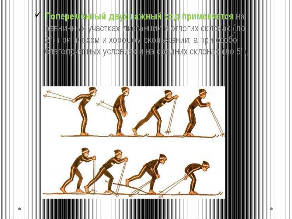 Попеременный двухшажный ход применяется на равнинных участках дистанции и отл...