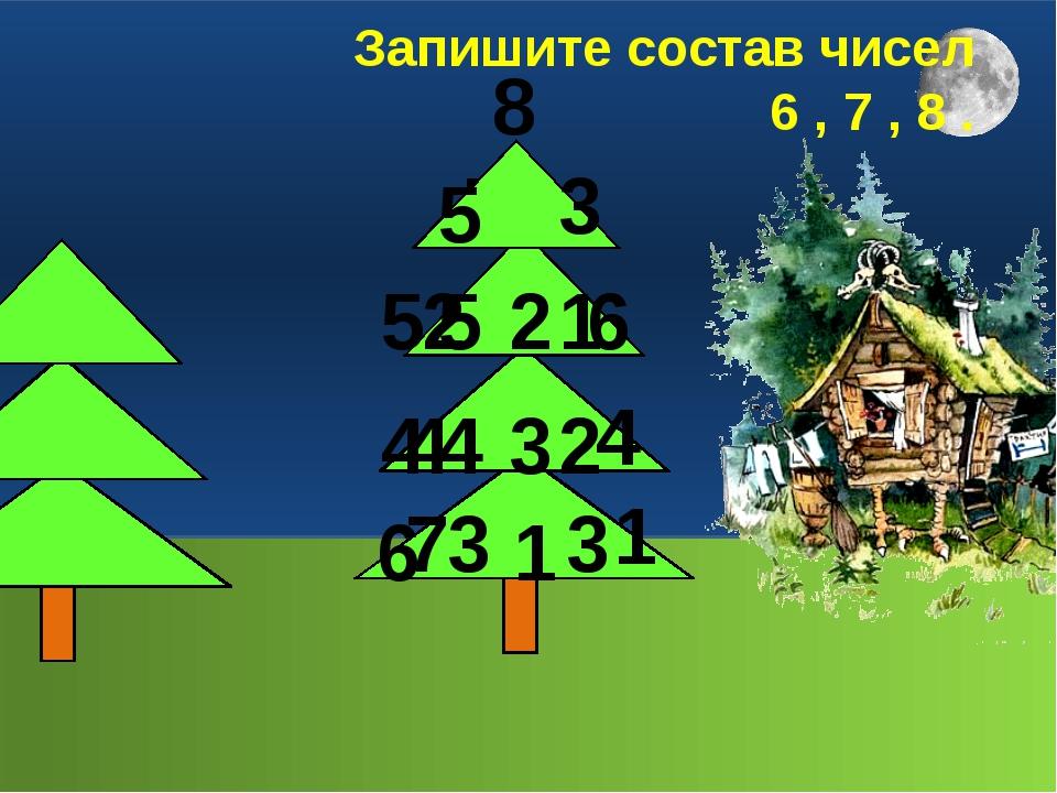 8 6 7 5 2 4 3 6 1 8 3 5 6 2 4 4 1 7 Запишите состав чисел 6 , 7 , 8 . 5 1 4...