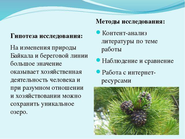 Гипотеза исследования: На изменения природы Байкала и береговой линии большое...