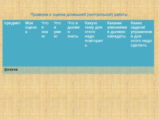 Проверка и оценка домашней (контрольной) работы. предмет Моя оценка Что я зна