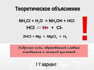 Гидролиз соли, образованной слабым основанием и сильной кислотой HCl H+ + Cl-