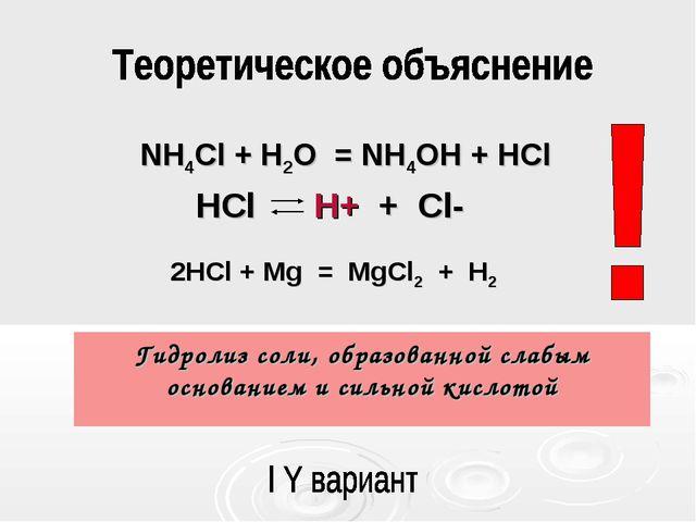 Гидролиз соли, образованной слабым основанием и сильной кислотой HCl H+ + Cl-...