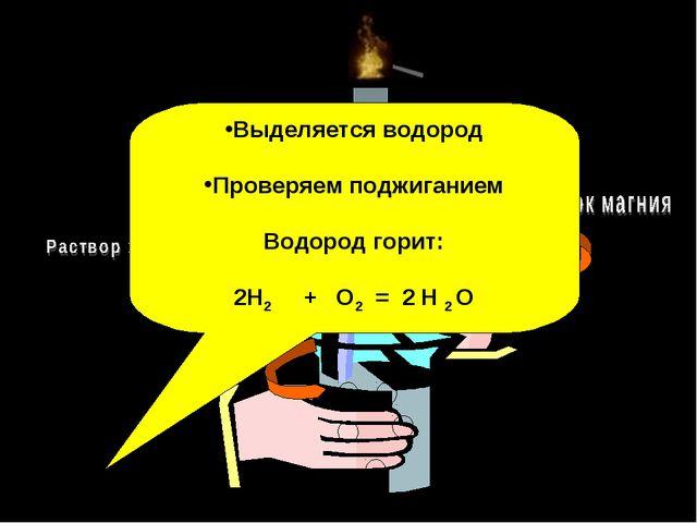 Выделяется водород Проверяем поджиганием Водород горит: 2H2 + O2 = 2 H 2 O