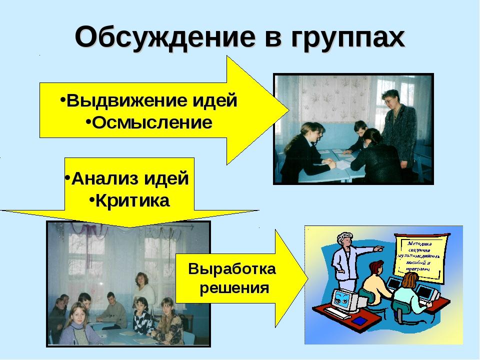 Обсуждение в группах Выдвижение идей Осмысление Анализ идей Критика Выработка...