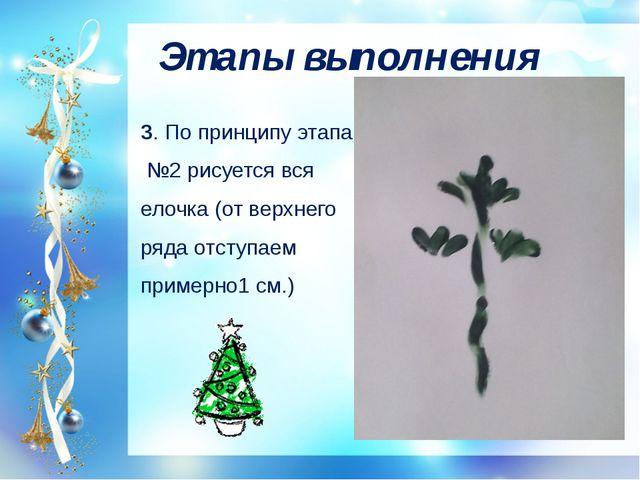 Этапы выполнения 3. По принципу этапа №2 рисуется вся елочка (от верхнего ряд...