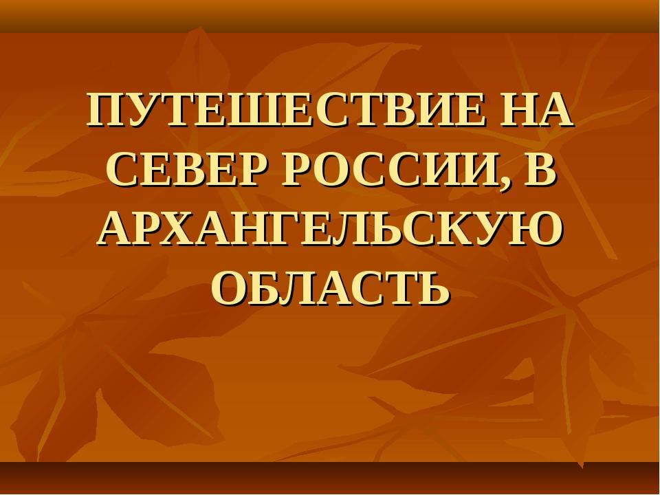 ПУТЕШЕСТВИЕ НА СЕВЕР РОССИИ, В АРХАНГЕЛЬСКУЮ ОБЛАСТЬ