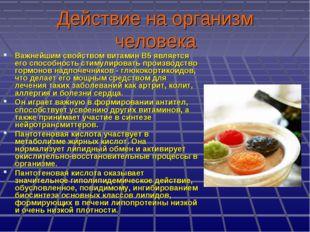 Действие на организм человека Важнейшим свойством витамин В5 является его спо