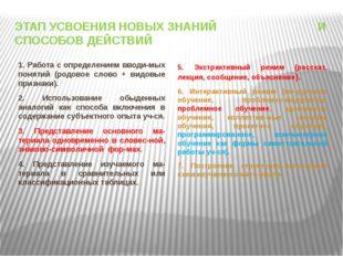 ЭТАП УСВОЕНИЯ НОВЫХ ЗНАНИЙ И СПОСОБОВ ДЕЙСТВИЙ 1. Работа с определением вводи