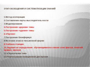 ЭТАП ОБОБЩЕНИЯ И СИСТЕМАТИЗАЦИИ ЗНАНИЙ 1.Метод кооперации 2.Составление карт