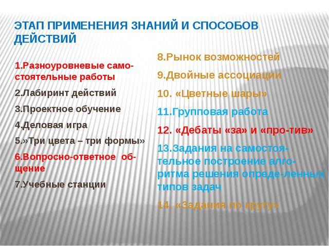ЭТАП ПРИМЕНЕНИЯ ЗНАНИЙ И СПОСОБОВ ДЕЙСТВИЙ 1.Разноуровневые самостоятельные...