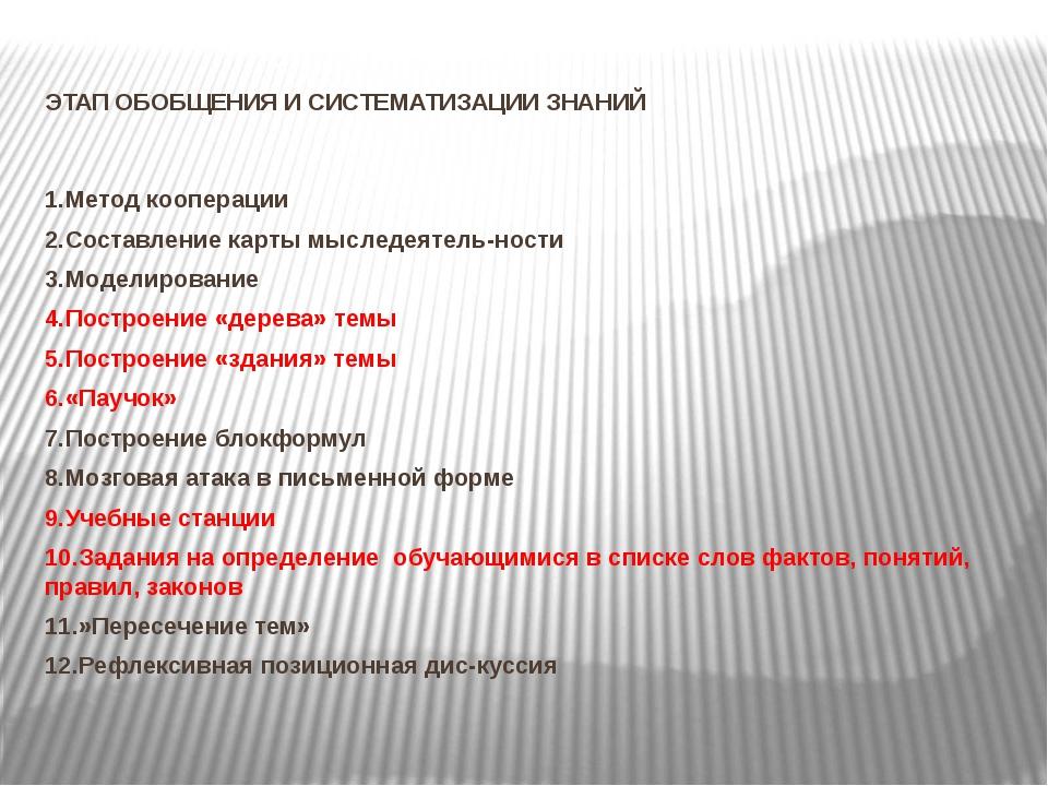 ЭТАП ОБОБЩЕНИЯ И СИСТЕМАТИЗАЦИИ ЗНАНИЙ 1.Метод кооперации 2.Составление карт...