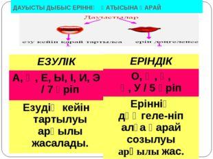 ДАУЫСТЫ ДЫБЫС ЕРІННІҢ ҚАТЫСЫНА ҚАРАЙ ЕЗУЛІК А, Ә, Е, Ы, І, И, Э / 7 әріп Езуд