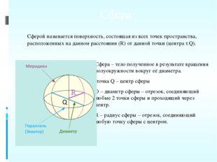 Сфера Сферой называется поверхность, состоящая из всех точек пространства, ра