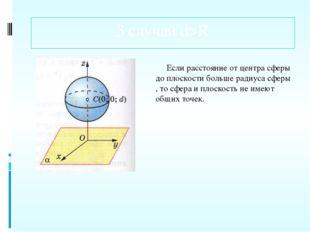 3 случай d>R Если расстояние от центра сферы до плоскости больше радиуса сфер