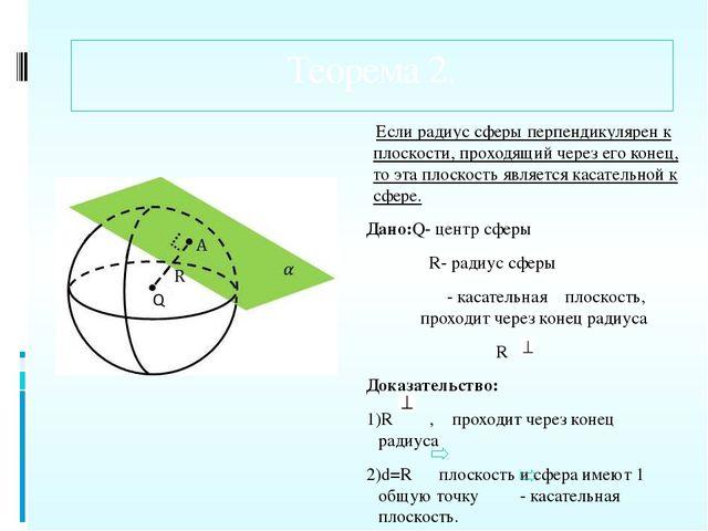 Теорема 2. Если радиус сферы перпендикулярен к плоскости, проходящий через ег...