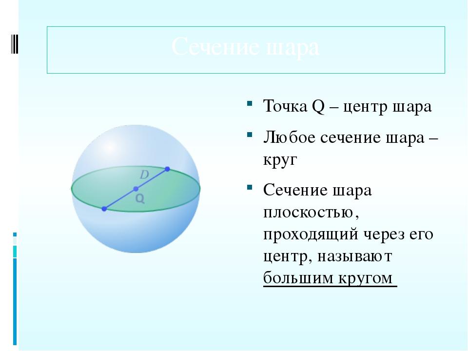 Сечение шара Точка Q – центр шара Любое сечение шара – круг Сечение шара плос...