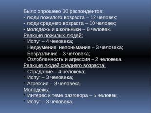 Было опрошено 30 респондентов: - люди пожилого возраста – 12 человек; - люди