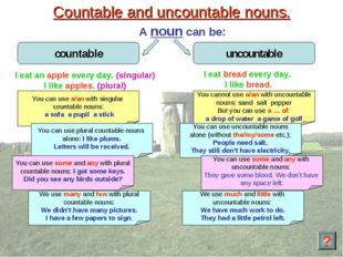 Countable and uncountable nouns. A noun can be: You can use a/an with singula