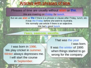 Articles with phrases of time Phrases of time are usually without a/an or the