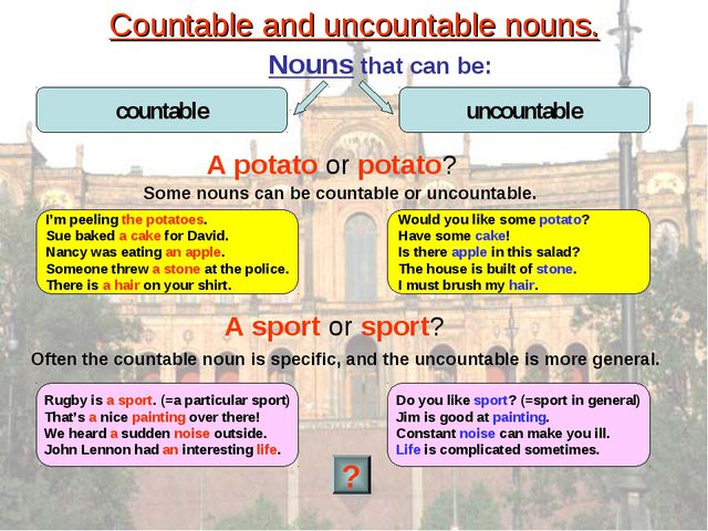 Countable and uncountable nouns. Nouns that can be: A potato or potato? I'm p...