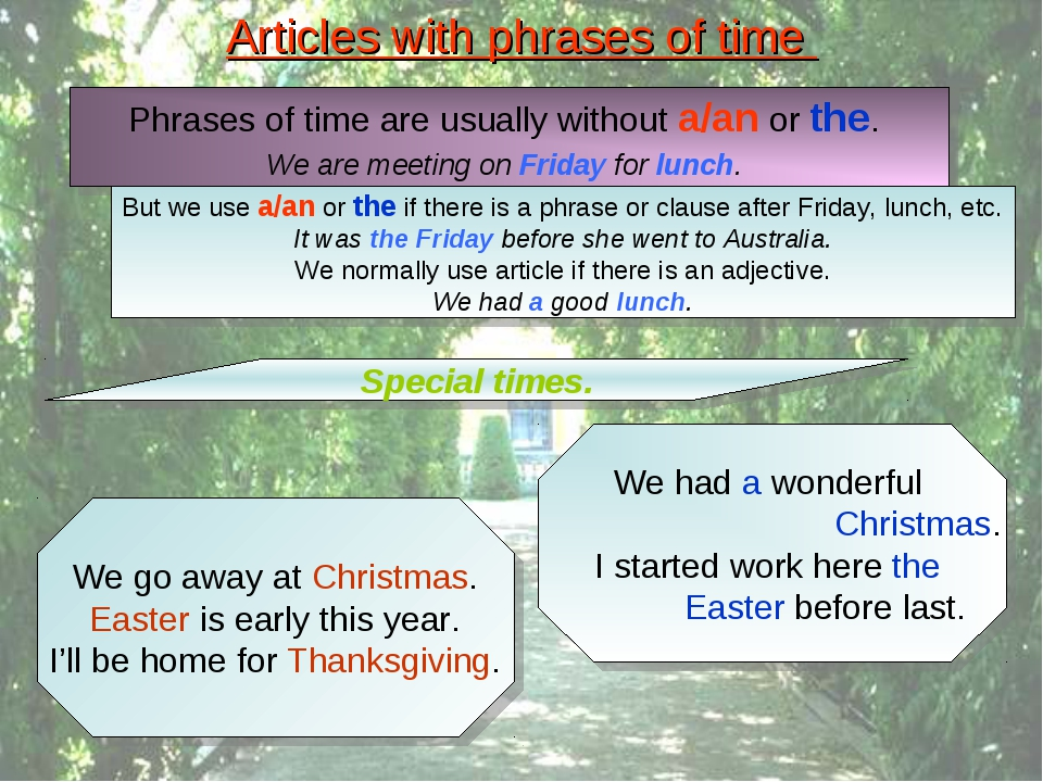 Articles with phrases of time Special times. We go away at Christmas. Easter...