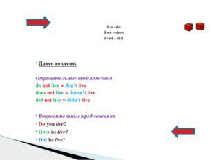 Далее по схеме: Отрицательные предложения do not live = don't live does not