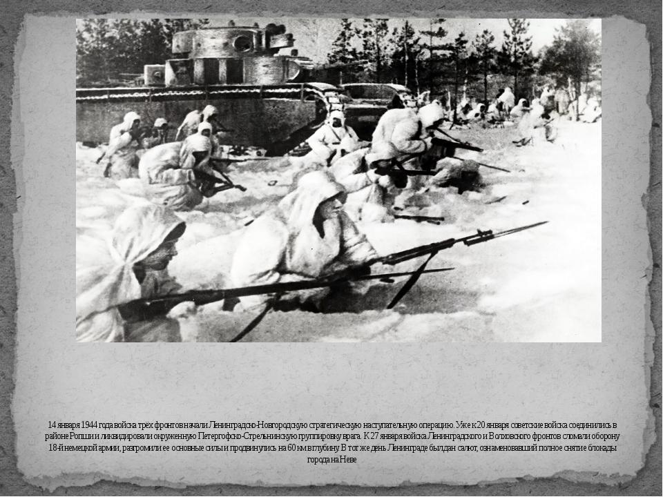 14 января 1944 года войска трёх фронтов начали Ленинградско-Новгородскую стра...