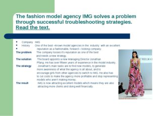 The fashion model agency IMG solves a problem through successful troubleshoot